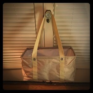 Medium Utility Tote, Frosted Gold Metallic